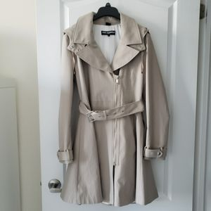 Karl Lagerfeld Asymmetrical Zip Skirted Trench